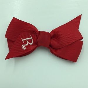 Girls hair bow with R initial